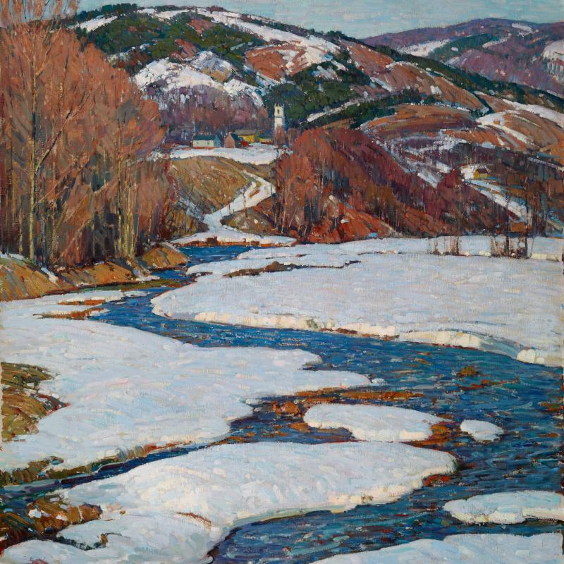 Winter Scene with Stream and Hill in Vermont
