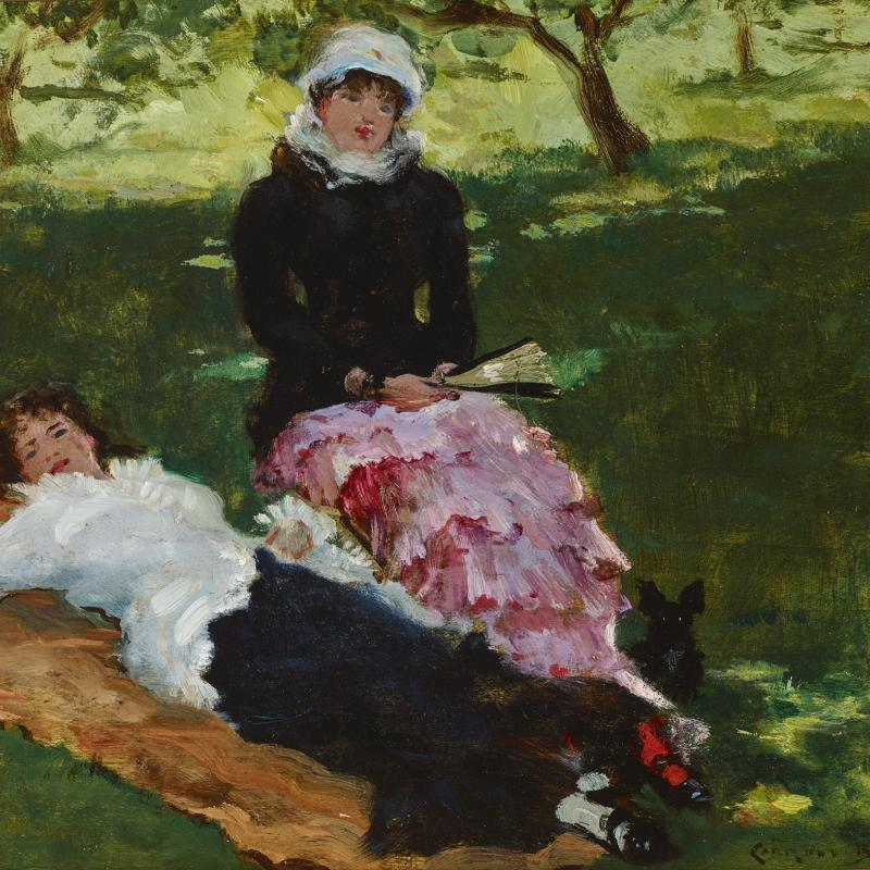 Two Women on the Lawn with a Dog