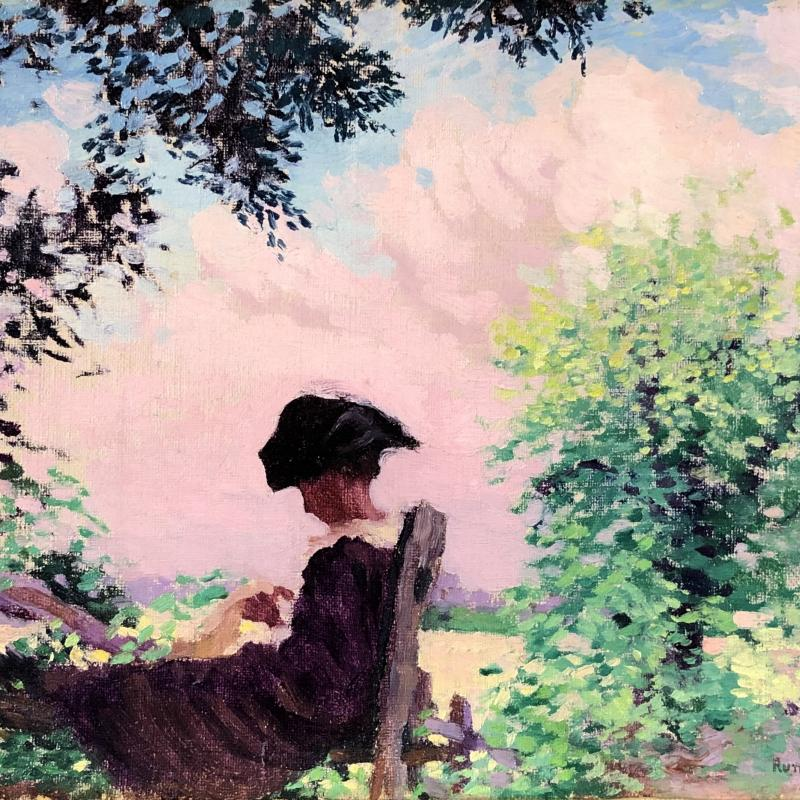 Woman Sitting on a Fence in a Landscape