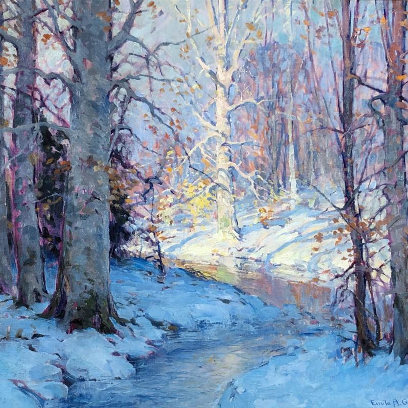 Winter Forest Interior with Stream
