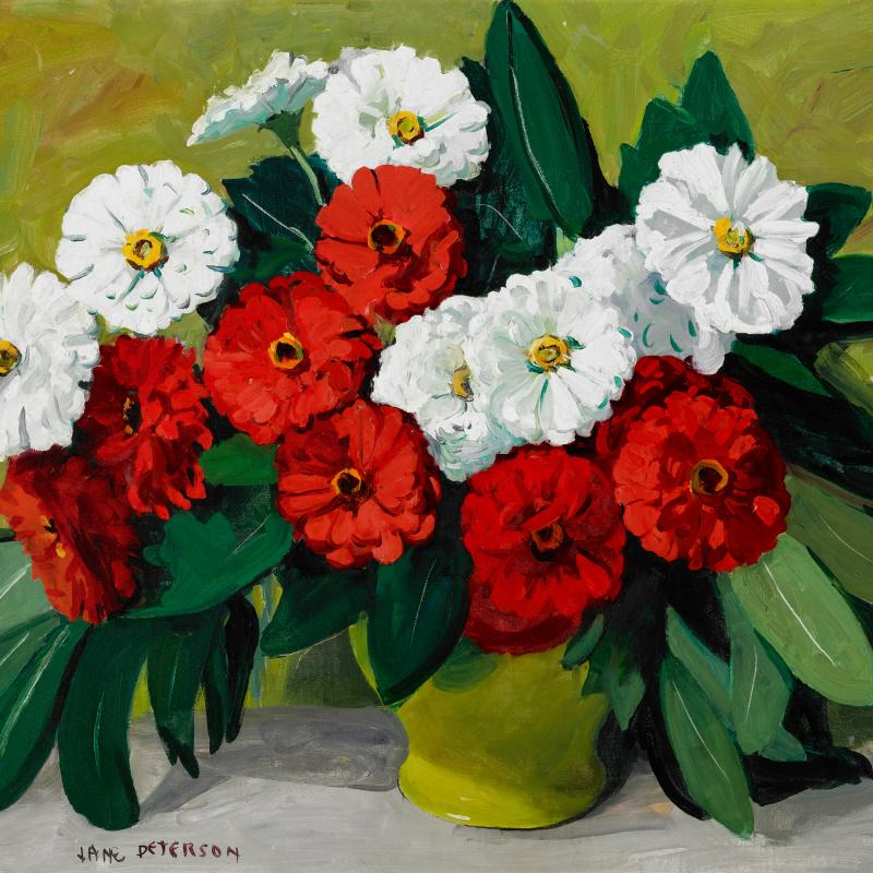 Red and White Zinnias