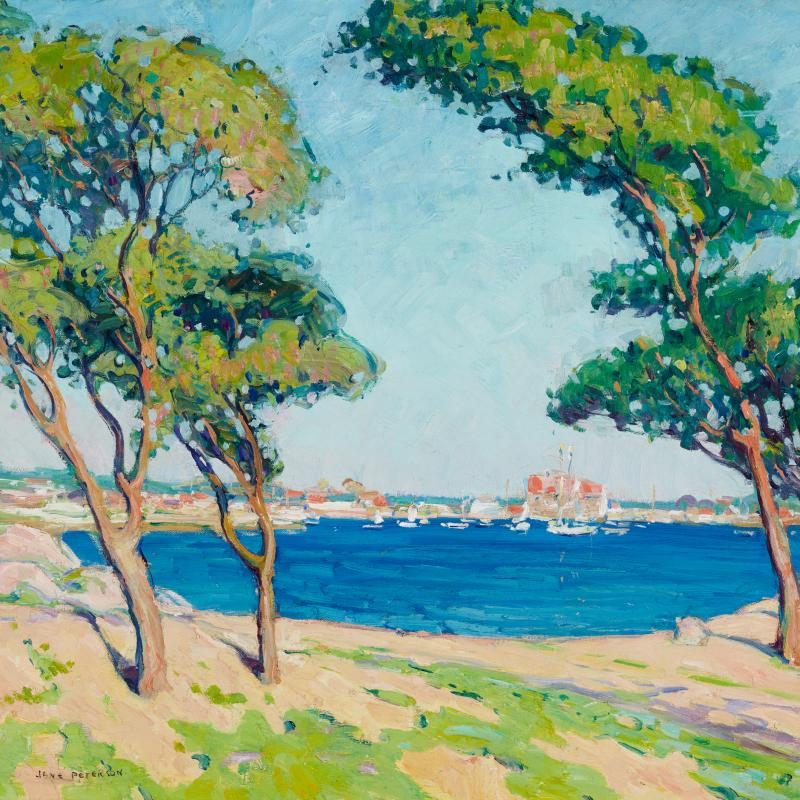 View of Gloucester Harbor with Two Trees