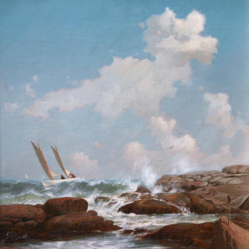 Boat on a Rocky Coastline