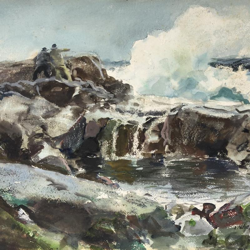 Two Men Standing on a Jetty with Crashing Waves
