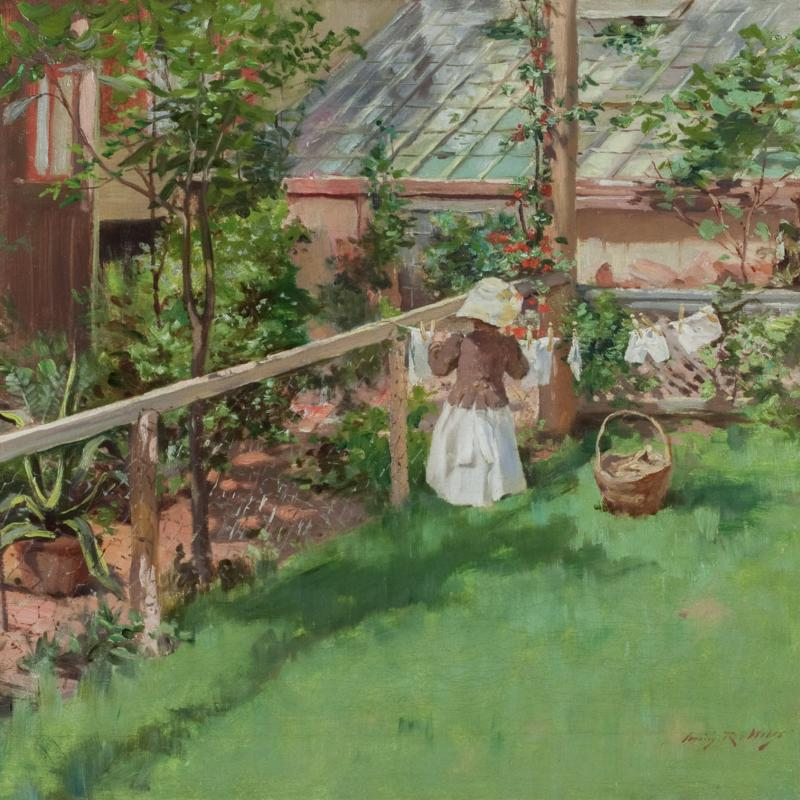 Little Girl at a Clothesline in a Garden
