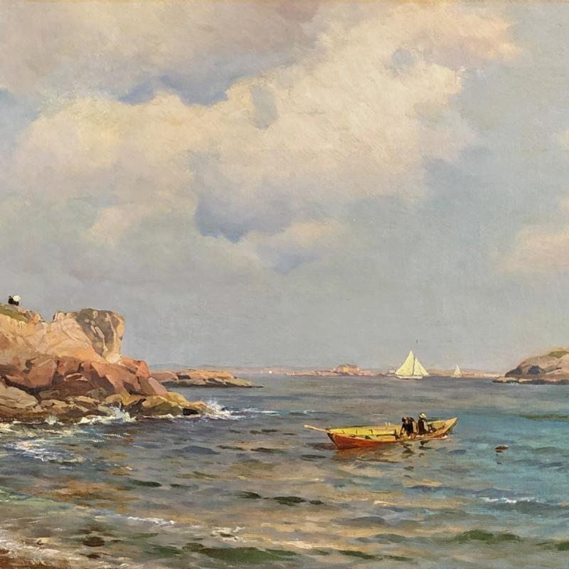 Seascape of Rocky Coast with Boat in Foreground
