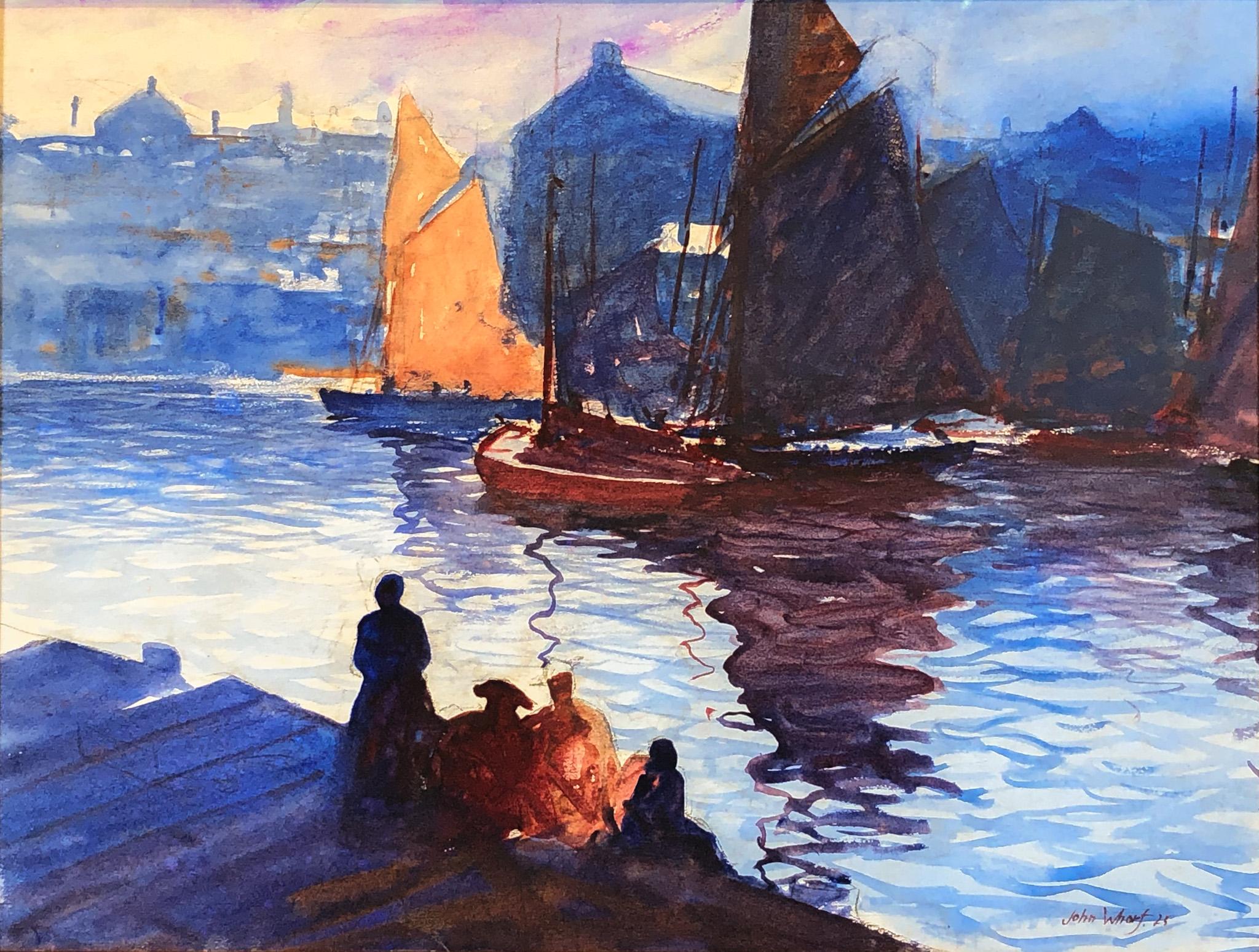 Watercolor of Boston Harbor